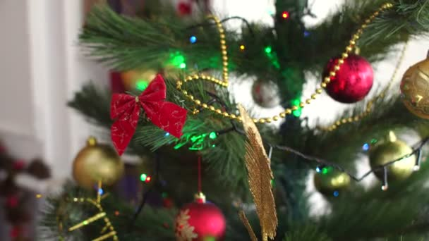 Close-up of Christmas-tree decorations.