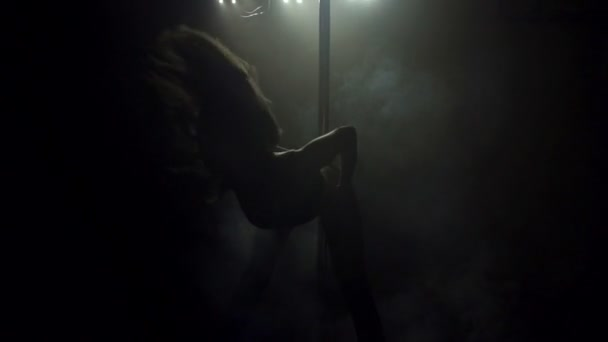 Silhouette of a girl dancing on a pole. Pole dance