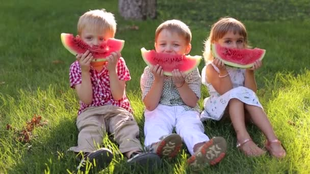 Three children eat watermelon on the grass in Park