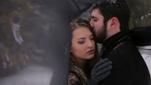 70e978786b Novia con velo negro y el novio en la nieve — Vídeos de Stock ...