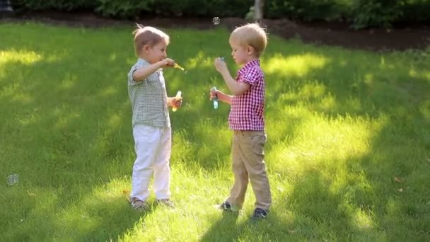 Dvě zábavné malé děti hrají s mýdlovými bublinami v parku při západu slunce.