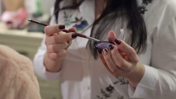 Paleta s eyeshadows a štětcem make-up make-up umělci rukou