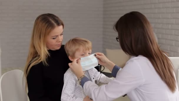 Pediatrician Medical Reception Boy At A Mask Of Close-up In Little The