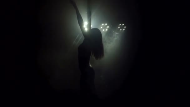 Silhouette of a girl with long flowing hair dancing on a pole in a dark.