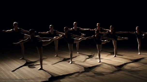 The slender ballerinas stood in a difficult position on the stage in the dark.