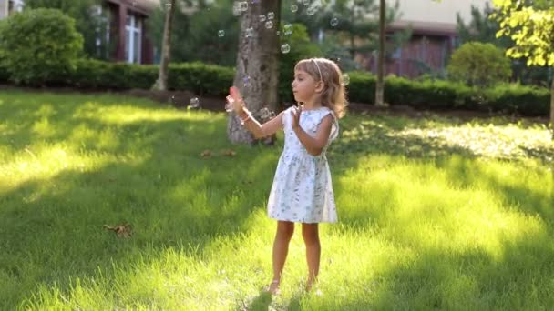 A little cute girl in a summer light dress playing with soap bubbles in the Park