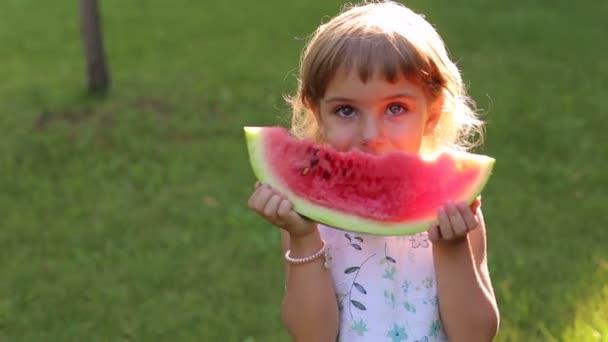 Porträt eines glücklichen kleinen Mädchens mit Wassermelone im sonnigen Sommerpark.