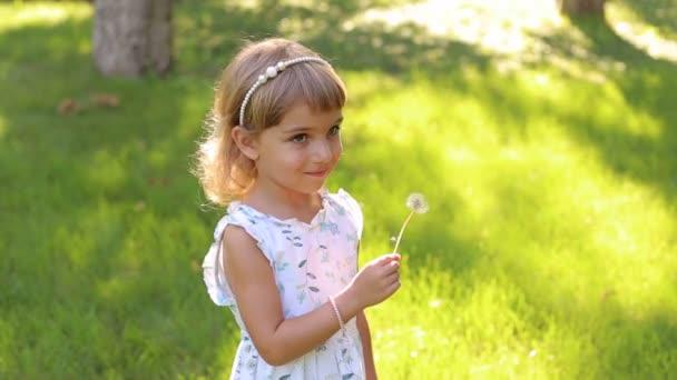 Šťastné dítě venku fouká Pampeliška květ. Dívka se baví na jaře parku. Sunny portrét roztomilé malé dítě dívka foukání Pampeliška květin v letním dni na zelené trávě.