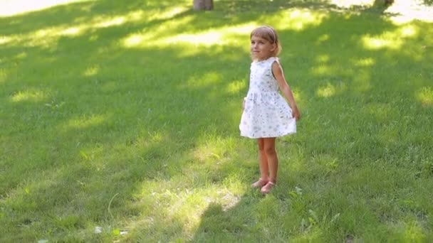 Portrait of a cute little girl of five years in a summer Park on the green grass