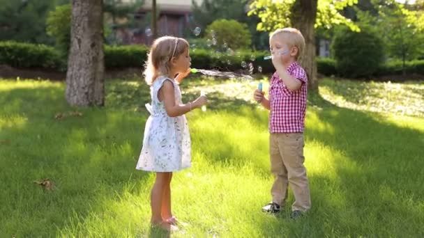 Two fun little kids, a boy and a girl, are playing with soap bubbles in the Park