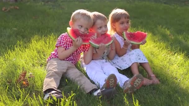 Three little kids are eating watermelon in summer Park sitting on green grass