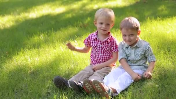 Two funny little boys play on the green grass in the park, they sit on the grass