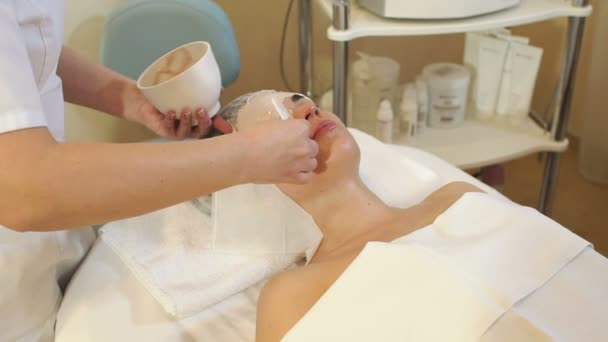 Beautician makes a clay mask for the girl in the Spa salon. Cosmetic procedure.