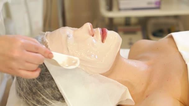 Kosmetikerin fertigt für das Mädchen im Wellness-Salon eine Tonmaske an. Kosmetischer Eingriff.