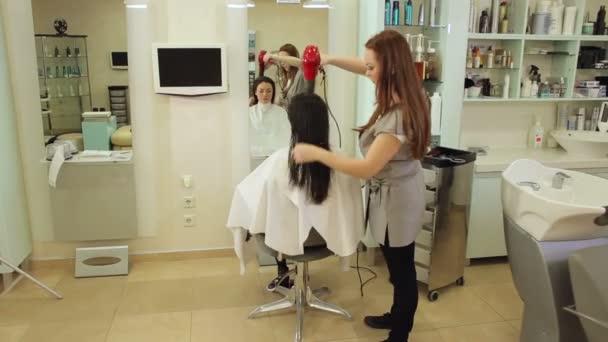 Profesionální kadeřnice vysoušecí vlasy své ženské klientky pomocí vysoušeče.