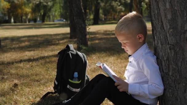 Egy kisiskolás leül a fűre, nekitámaszkodik egy fának, és könyvet olvas..