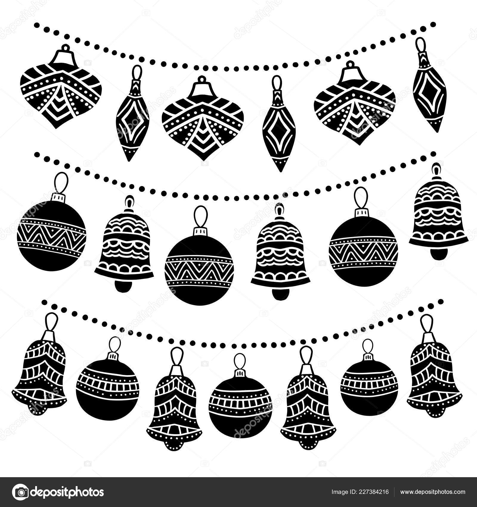 Christmas Garland Drawing.Christmas Garland Sketch Drawing For Your Design Greeting