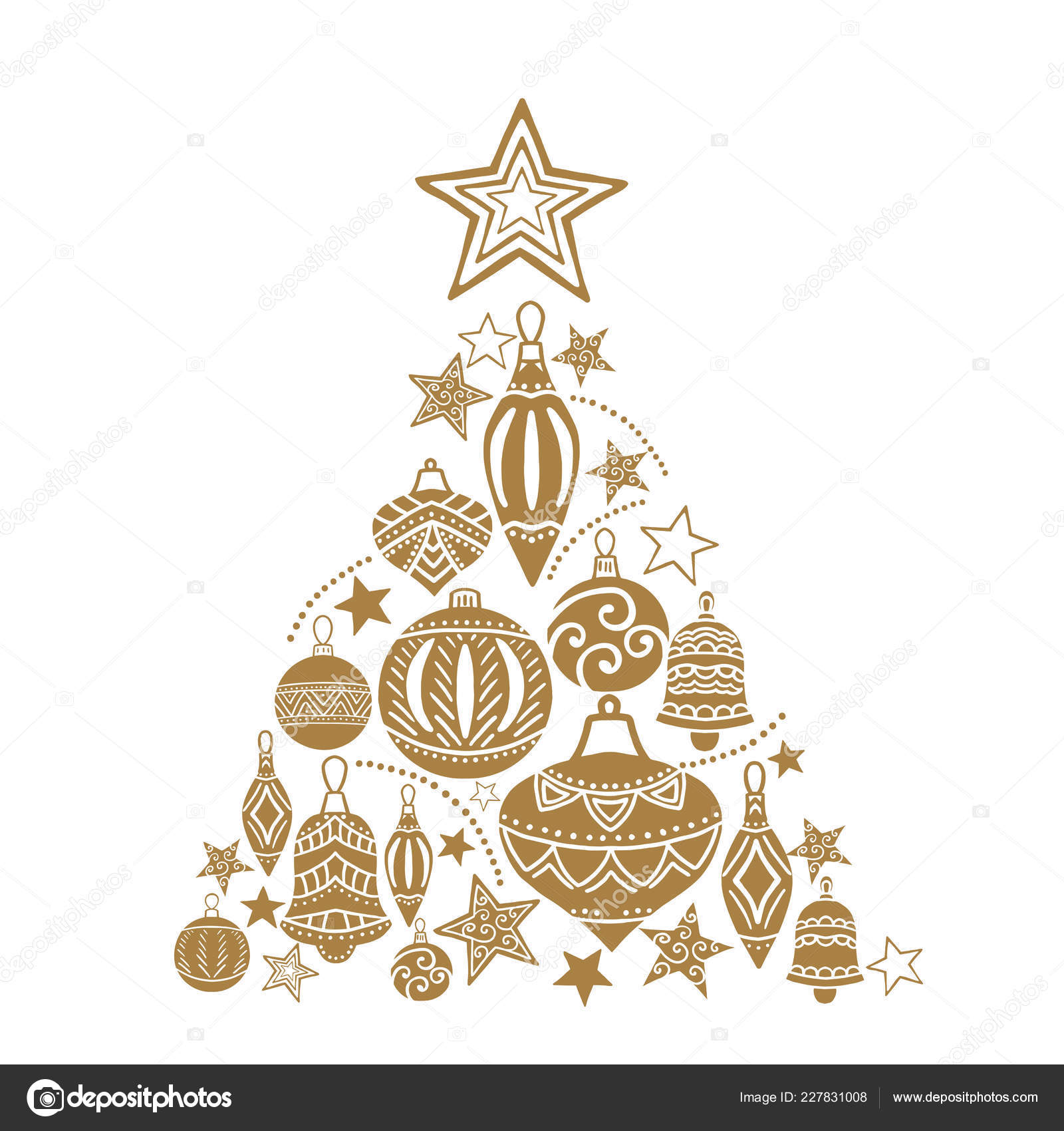 Drawing Christmas Tree Sketch.Christmas Tree Sketch Drawing For Your Design Greeting