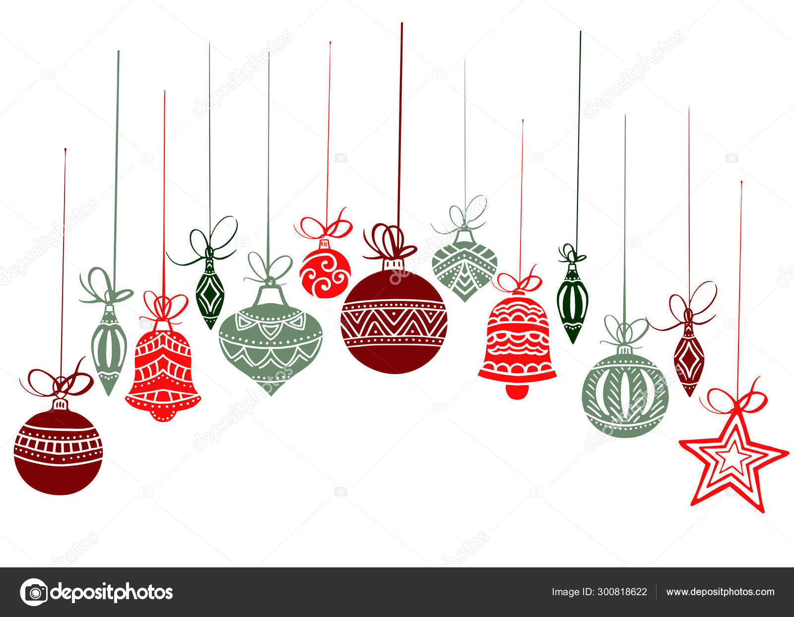 Christmas Decorations Sketch Drawing For Your Design