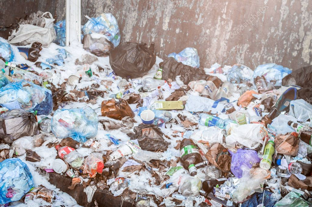 MINSK, BELARUS - December 10, 2018: waste dump close up