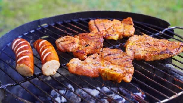 Různé druhy šťavnatého masa na horkých koálech na grilu v zahradě