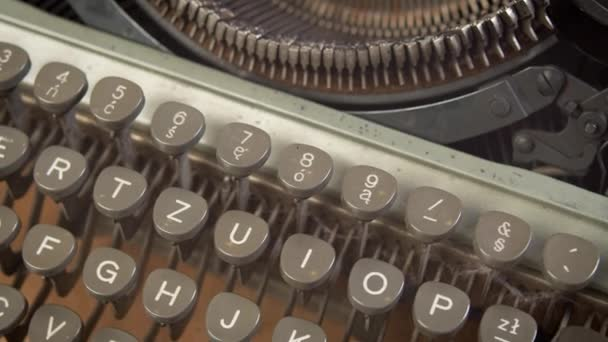 details of a beautiful old typewriter in gray color