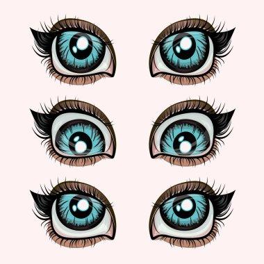 Human blue eye on beige background 4