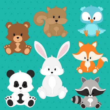 Cute animals, Set of cute animals