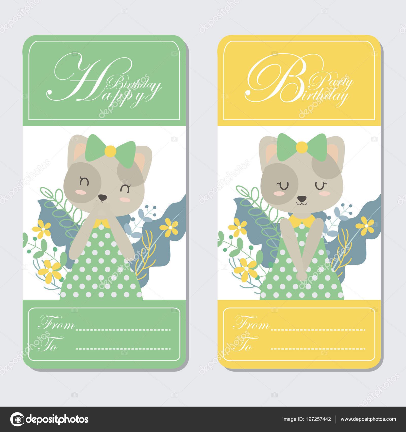 Vector Cartoon Illustration Cute Cat Flowers Suitable Birthday Card