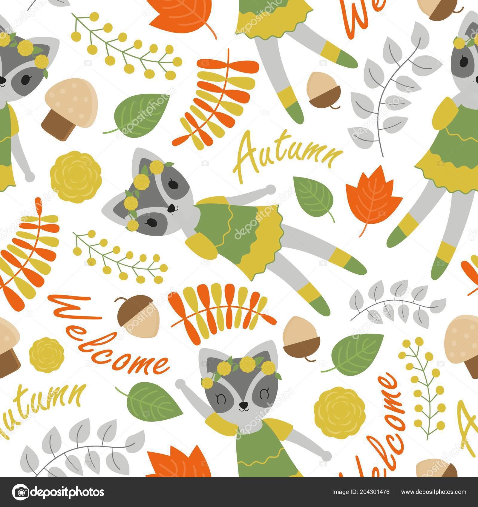 84a47ffd566993 Nahtlose Muster mit niedlichen Waschbären und Blumen Vektor Cartoon für  Geburtstags-Tapete Design