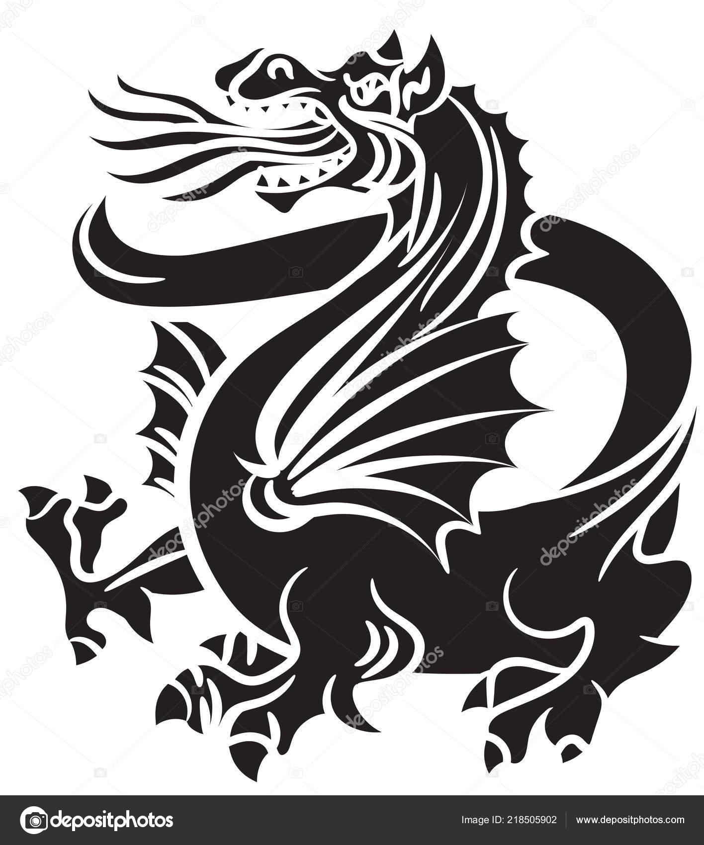 Dragon Tatouage Tribal Noir Sur Fond Blanc Image Vectorielle Dique