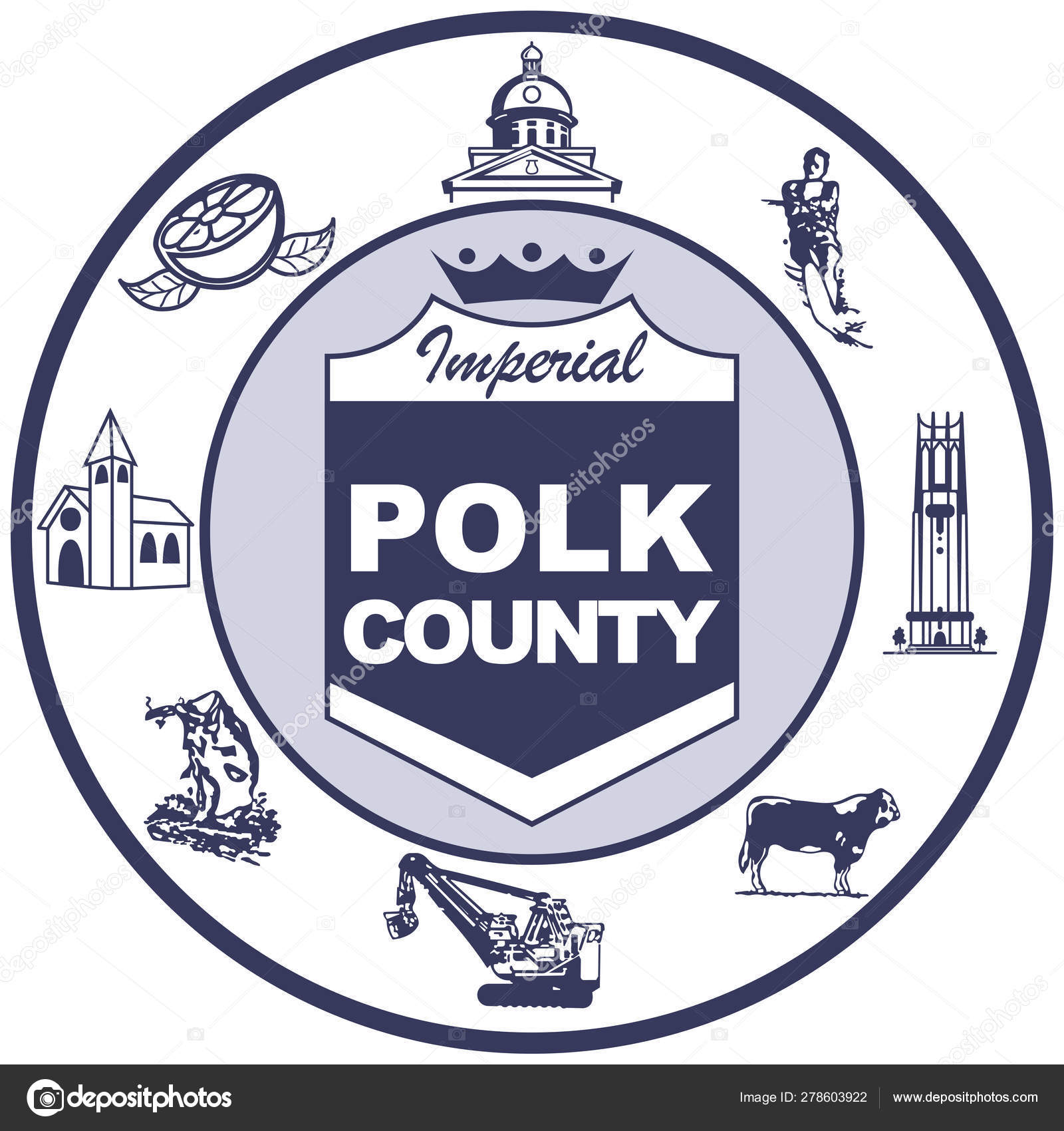Coat of arms of Polk in Florida of United States — Stock