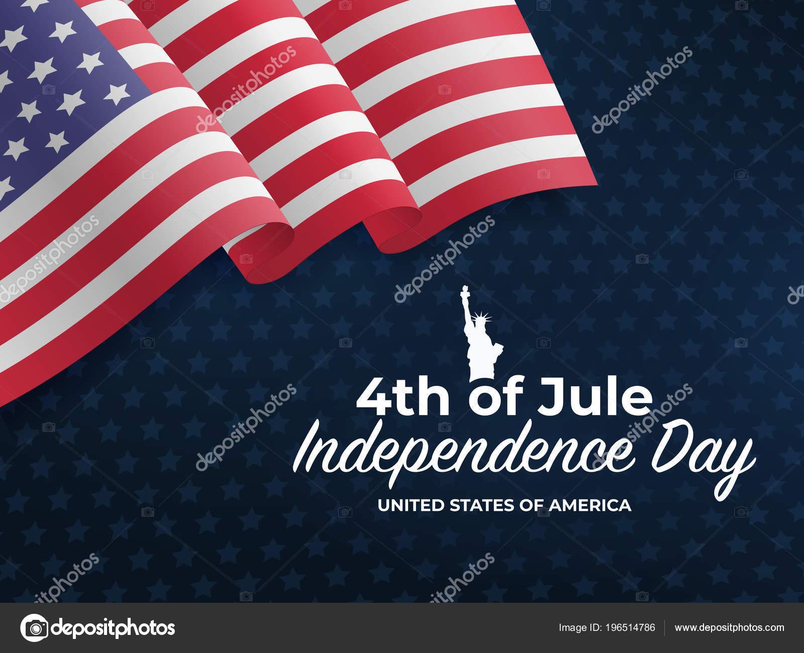 Fourth July Unabhängigkeitstag 2018 Wehende Flagge Der Vereinigten ...