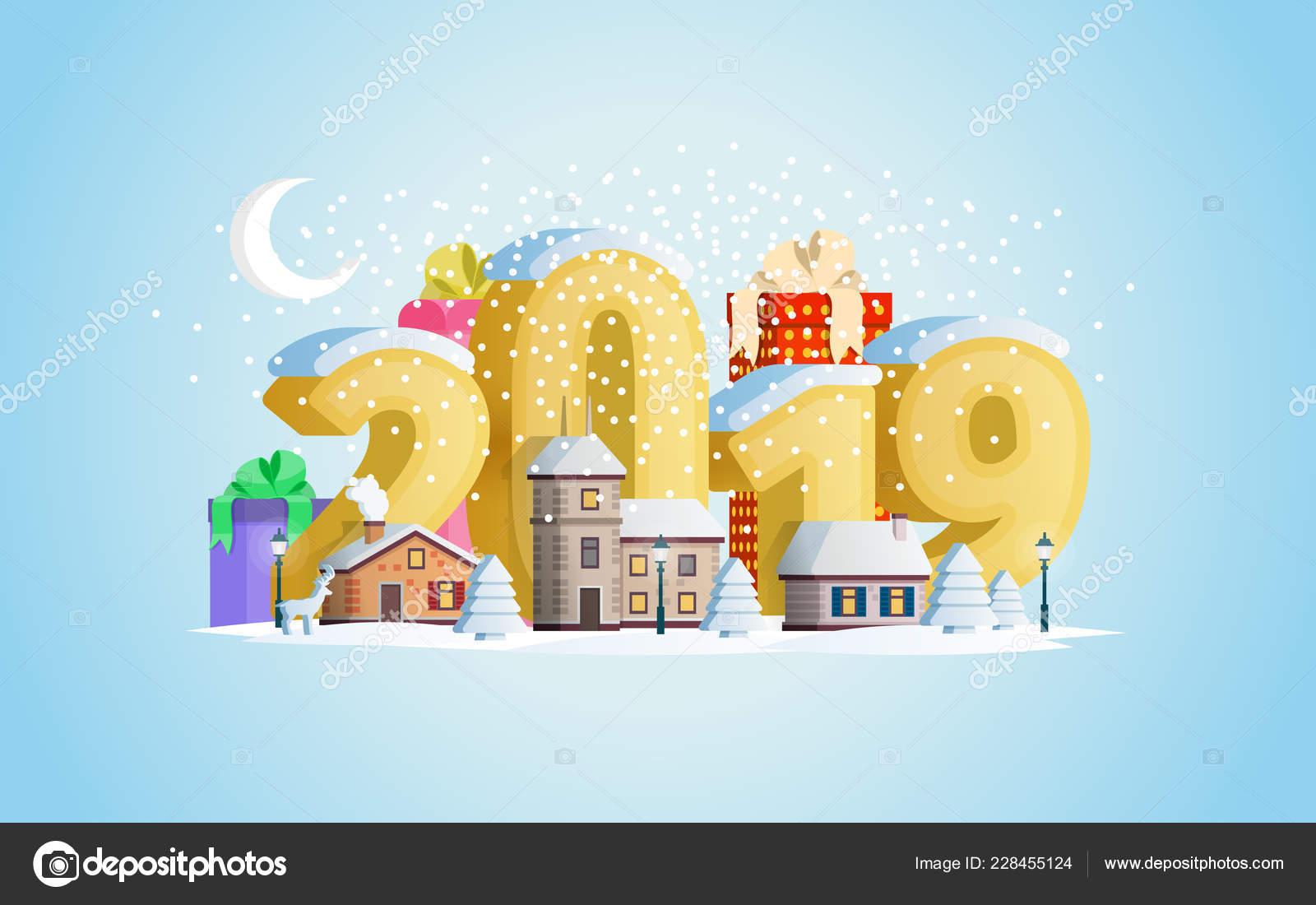 Winterurlaub Weihnachten 2019.Neue Jahr 2019 Grußkarte Eine Kleine Stadt Bergen Der Winterurlaub