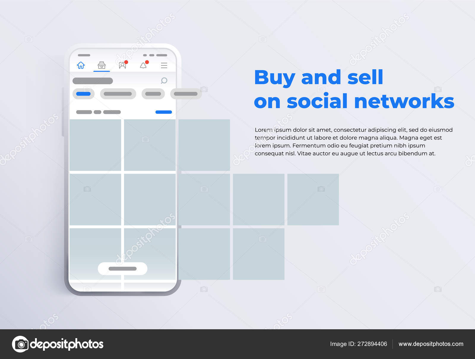 News feed in a social network in the form of a grid