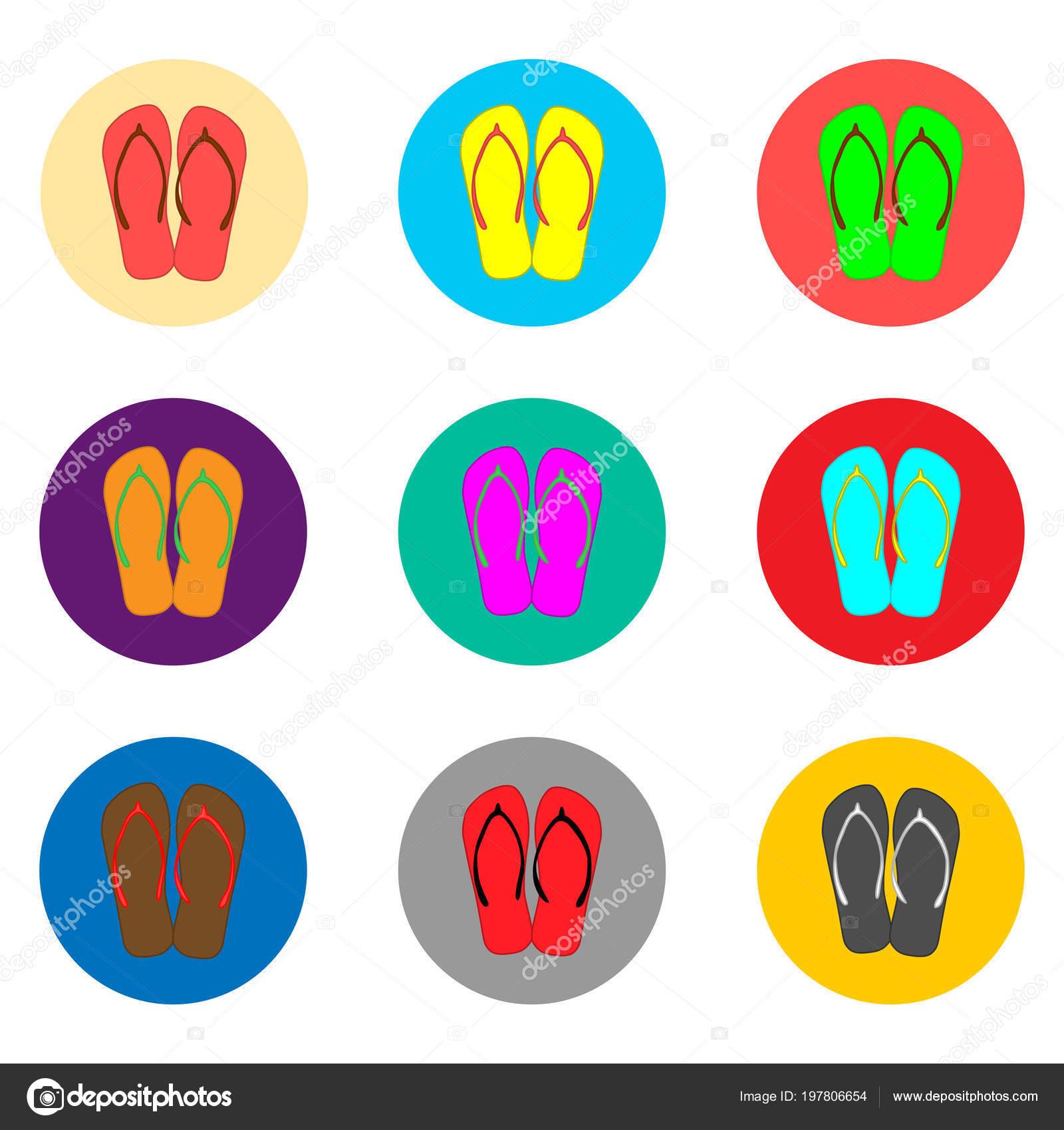 b58561010 Logo Icono Vector Para Sandalia Símbolos Set Verano Zapatillas Flip ...
