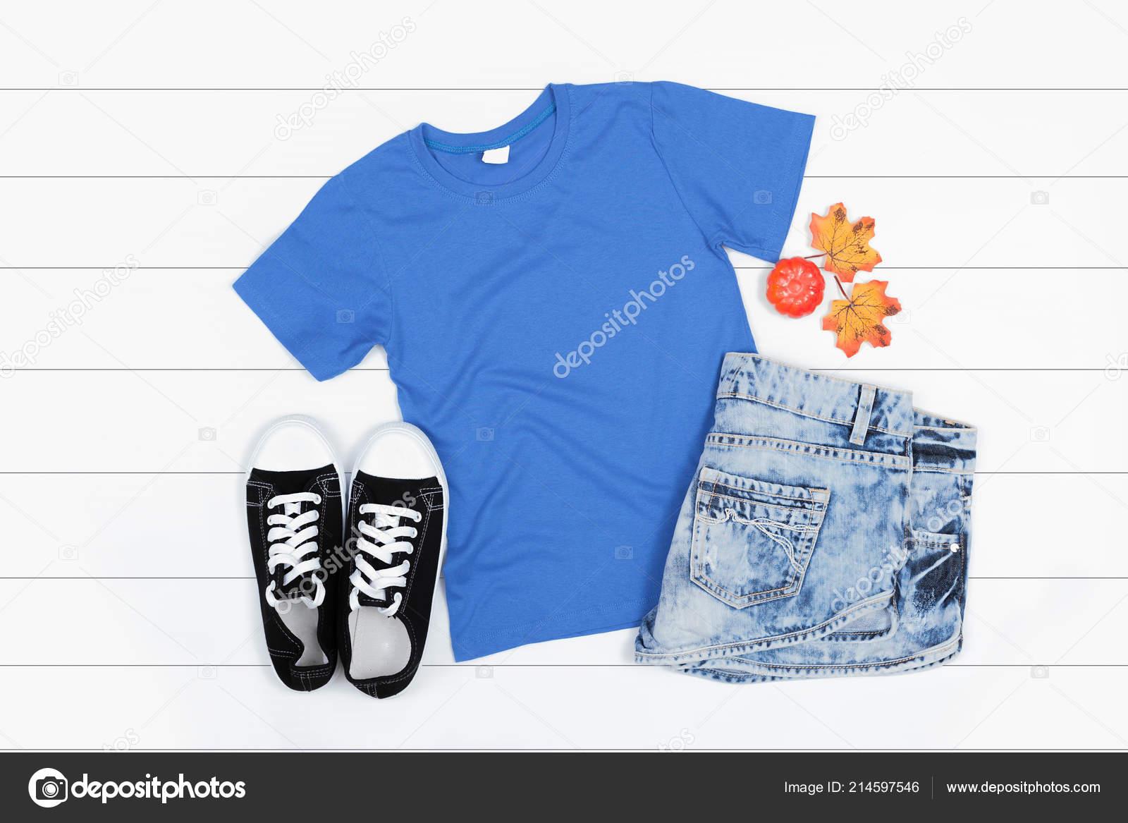 Blue Short Sleeve Shirt Mockup White Wooden Background Flat Lay