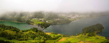 Aerial view to Azul and Verde lakes at Sete Cidades in Sao Miguel, Azores, Portugal