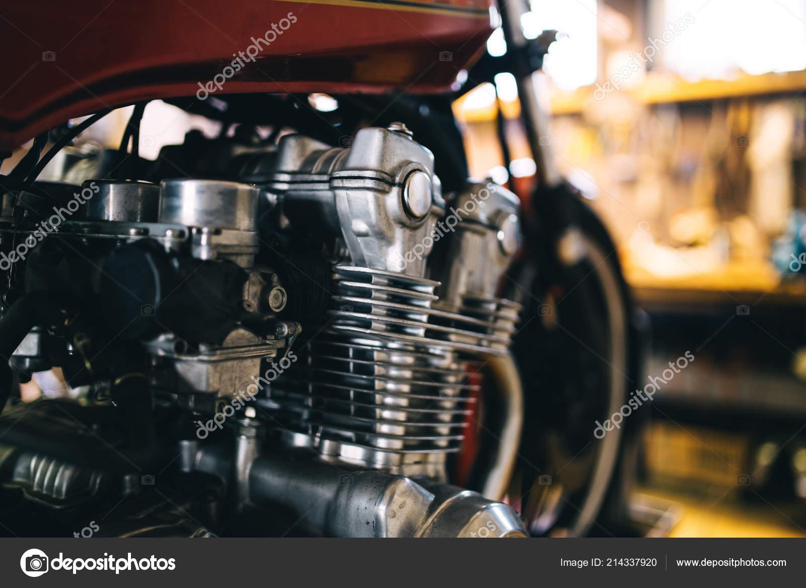 Motor Nahaufnahme Schuss Von Schönen Und Retro Custom Made Motorrad