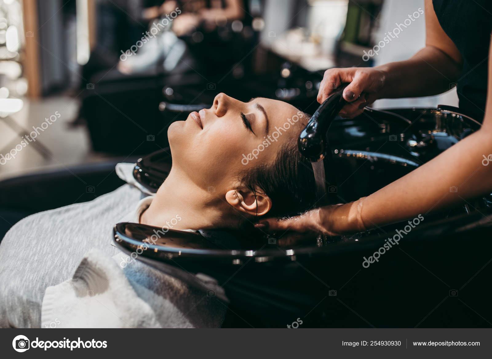 Beautiful Young Woman Getting Hair Wash Hair Salon Styling Concept Stock Photo C Duxx73 254930930