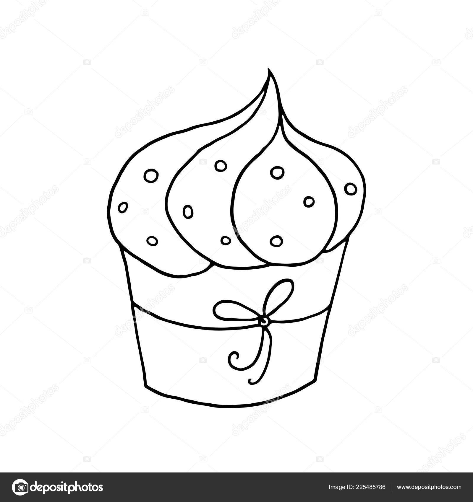 Disegni Cupcake Da Colorare Mano Disegnato Cupcake