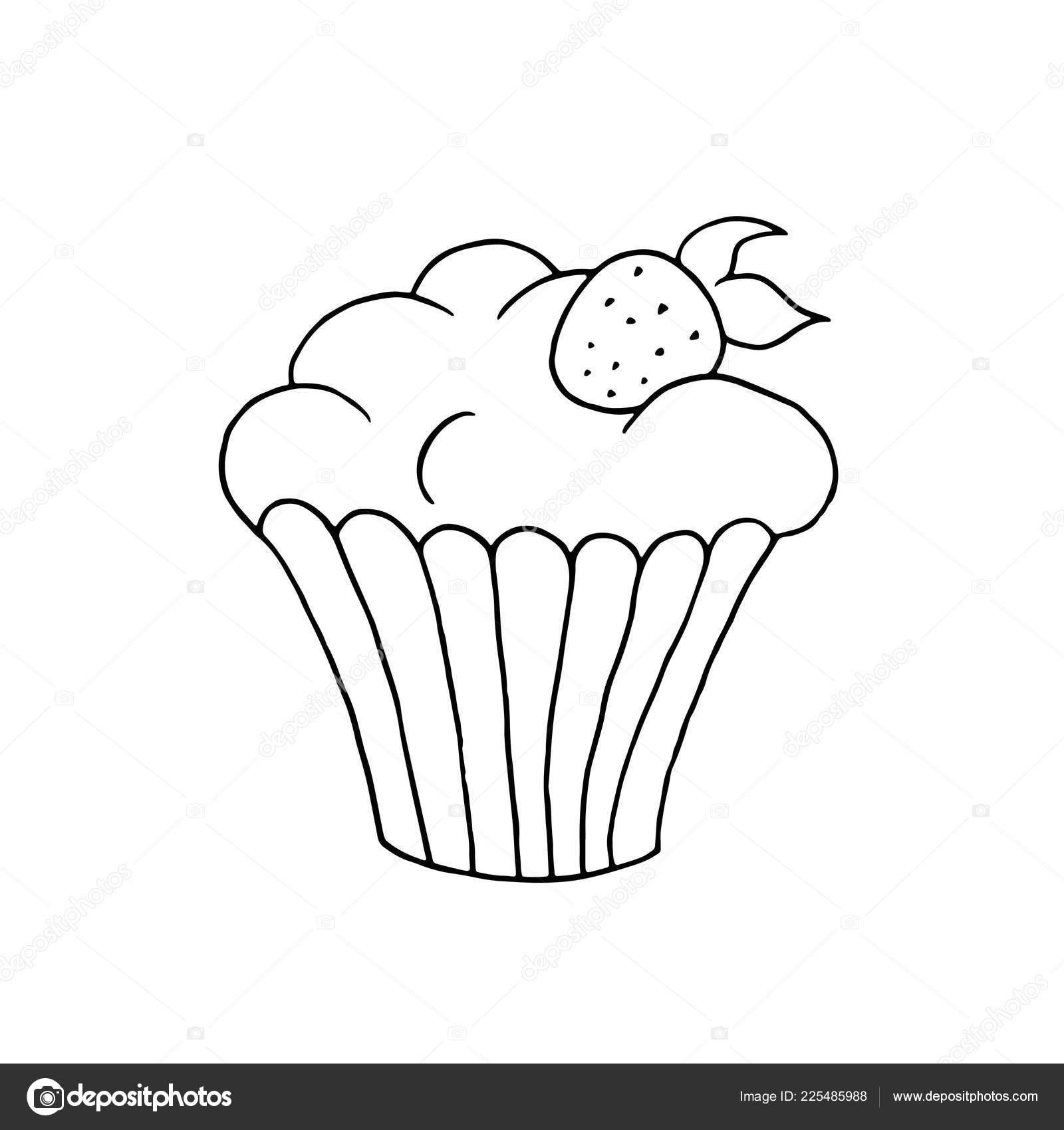 Immagini Muffin Da Colorare Mano Disegnato Cupcake