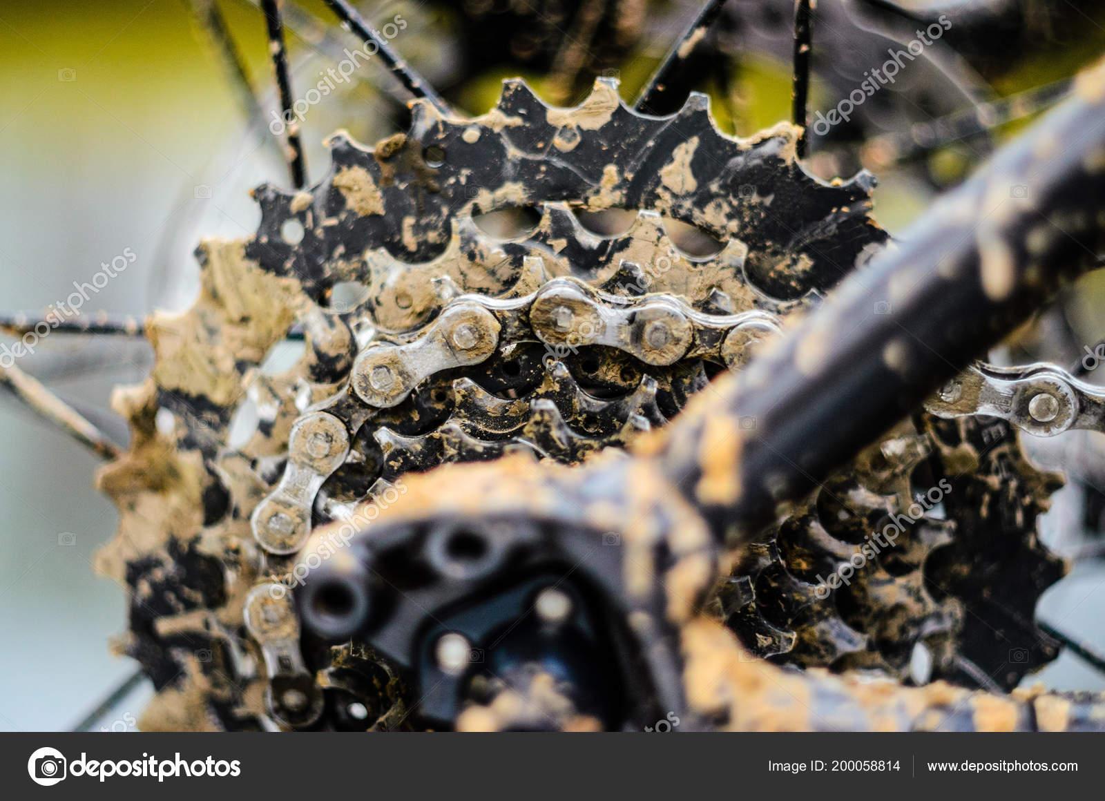 Mountain Bike Transmission Mud Dirty Chain Drive Mountain Bike Riding Stock Photo C V Sot 200058814