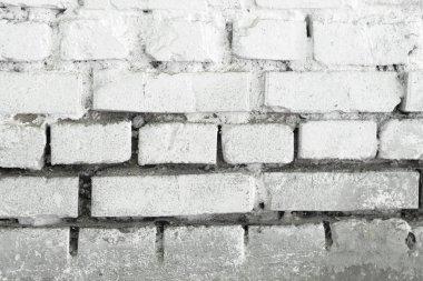 White Brick Wall Texture. White Background. Old Masonry Brickwork Painted on White