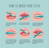 Fotografie wie man seine Zähne putzt. Vektorinformationsgrafik-Vorlage. flache Abbildung.