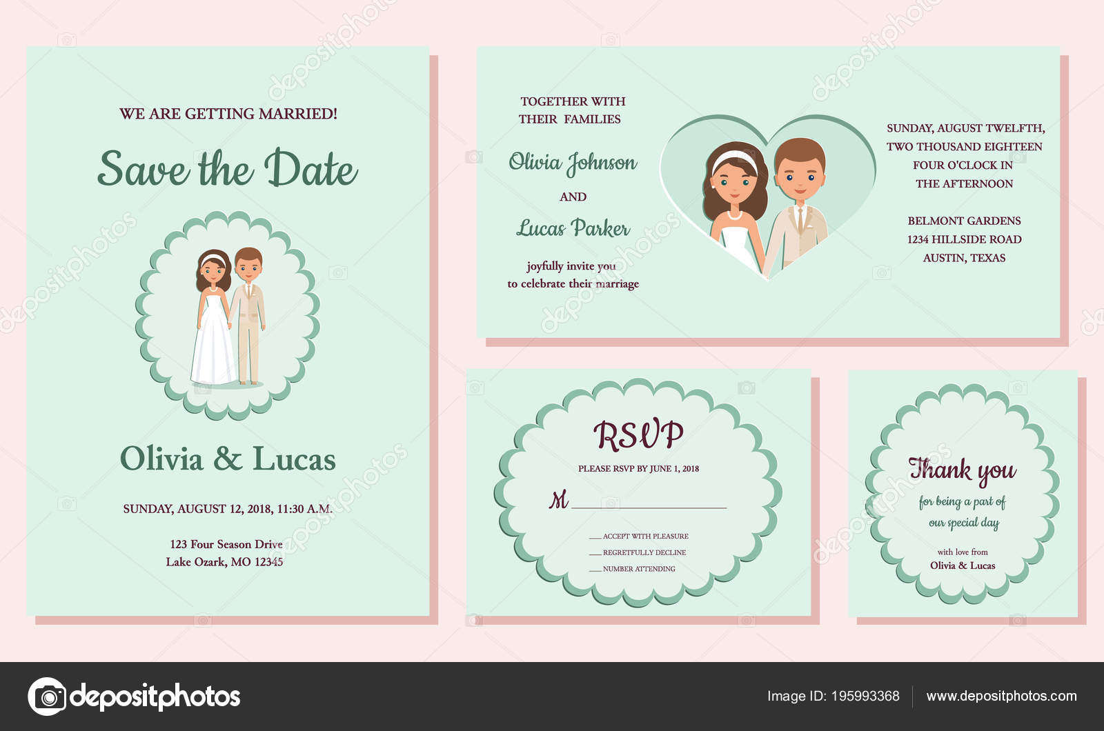 Wedding Invite Rsvp Thank You Cards Invitation Templates Vector Date