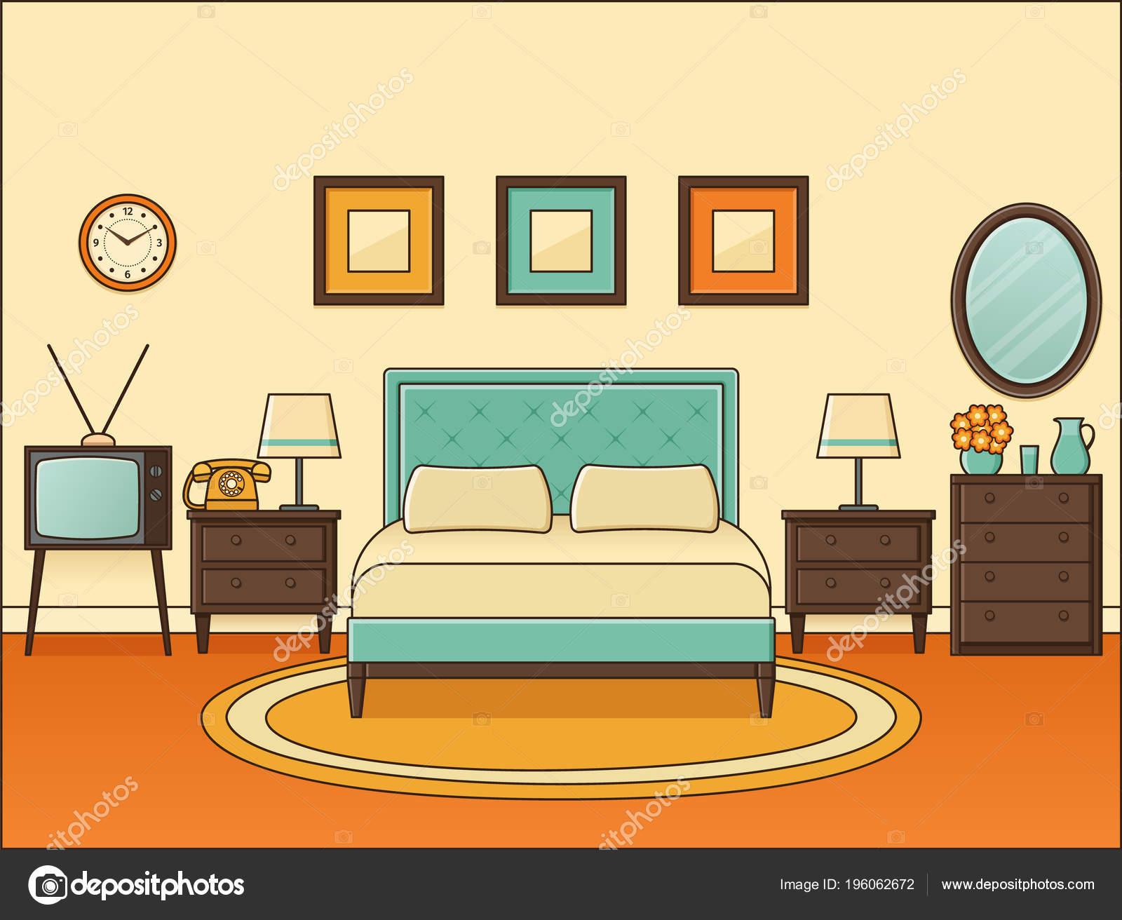 Room Double Bed Bedroom Retro Interior Vector Home Space