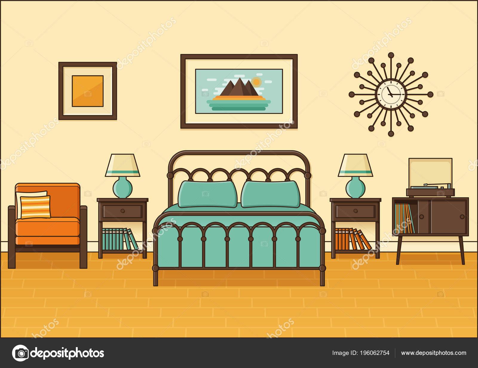 Bedroom Interior Hotel Room Vector Home Retro Space Flat