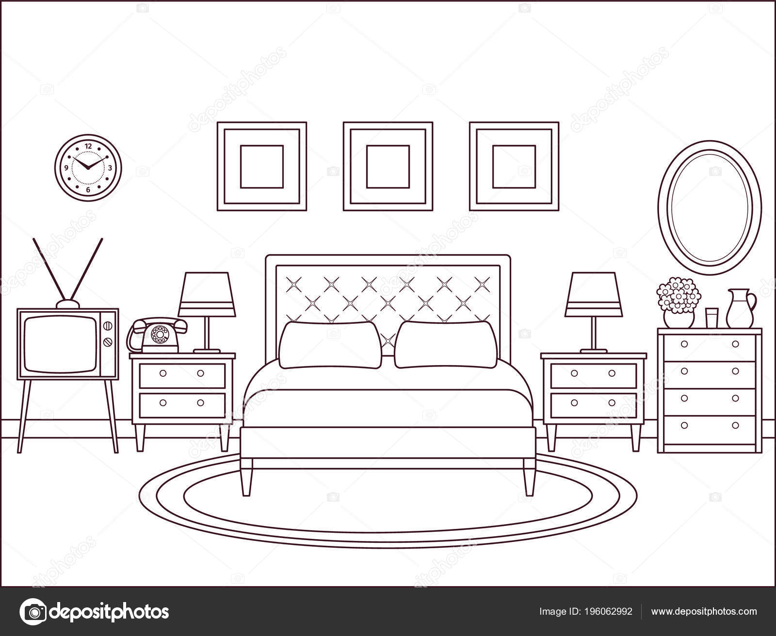 Bedroom Interior Hotel Retro Room Bed Vector Outline Home