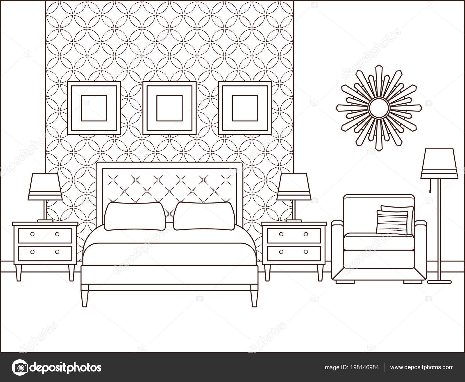 Bedroom Interior Vector Hotel Room Outline Retro Home Space